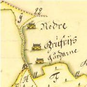 Utsnitt från karta över Nedre Gruvriset 1723